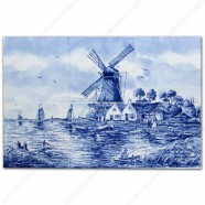 Molenlandschap Visser klein - Delfts Blauw Tegeltableau - set van 6 tegels