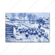Kudde Schapen - Mauve klein - Delfts Blauw Tegeltableau