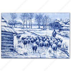 Herd of sheep - Mauve small - Delft Blue Tile Panel