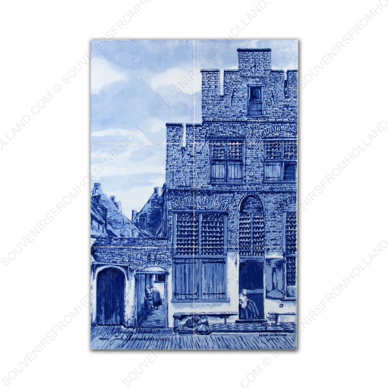 The Little Street by Vermeer small - Delft Blue Tile Panel - set of 6 tiles