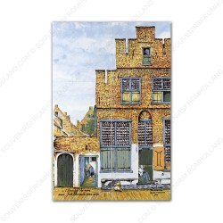The Little Street by Vermeer - small Polychrome Tile Panel - set of 6 tiles