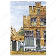 Het straatje van Vermeer klein -  Polychroom Tegeltableau - set van 6 tegels