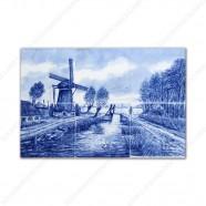 Landscape Windmill 1 - small Delft Blue Tile Panel - set of 6 tiles