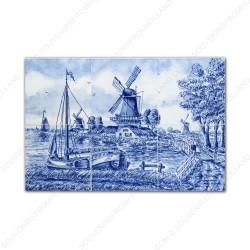 Landscape Windmill 74 - small Delft Blue Tile Panel - set of 6 tiles