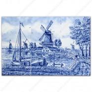 Molenlandschap 74 - klein Delfts Blauw Tegeltableau - set van 6 tegels