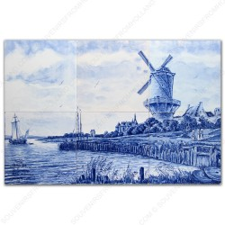 Molenlandschap Ruysdael - Delfts Blauw Tegeltableau - set van 6 tegels