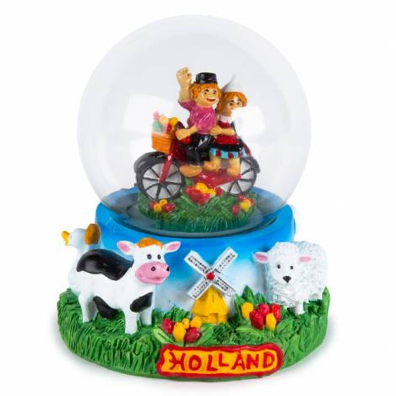 Couple on Bike Farmland - Snow Globe 10cm