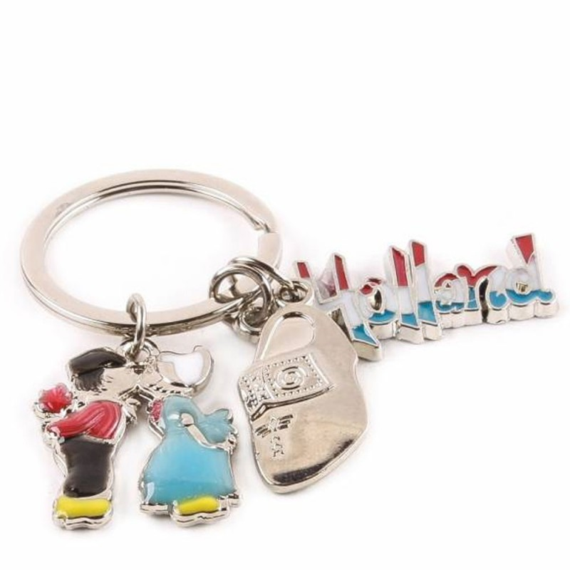 Charms Wooden Shoe - Kissing couple - Holland - Keychain