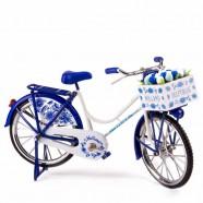 Miniatuur Fiets met krat Tulpen - Delfts Blauw - 23 x 13 cm