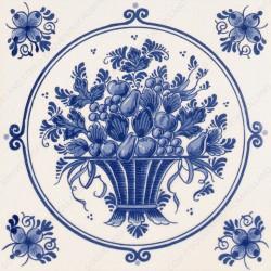 Fruitmand met Bloemen - Tegel 15x15cm
