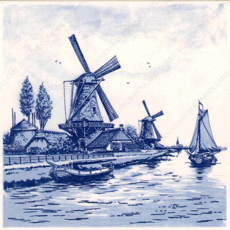 Windmill at the Waterside - Tile 15x15cm