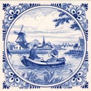 Dutch Couple in Boat - Tile...