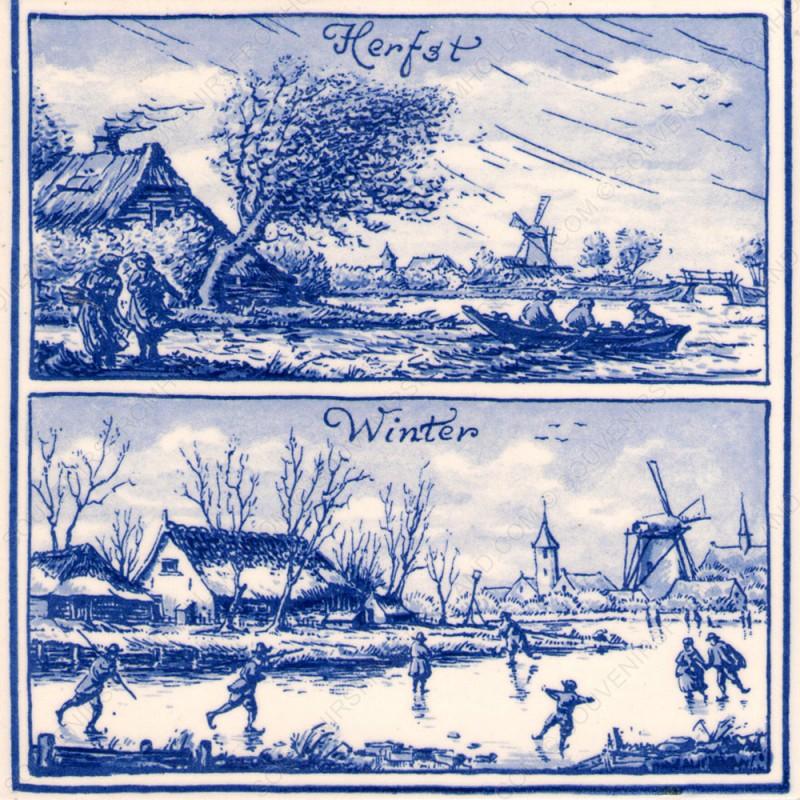 Herfst en Winter in Holland - Tegel 15x15cm