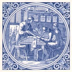 The Merchant - Jan Luyken professions tile - Delft Blue