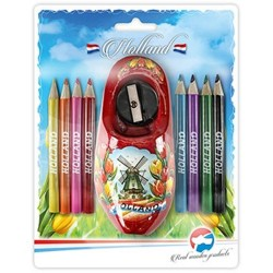 Colored Pencils - Sharpener in Red Wooden Shoe