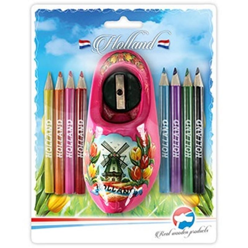 Color Pencils - Sharpener in Pink Wooden Shoe