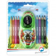 Kids and Gifts Color Pencils - Sharpener in Lime Green Wooden Shoe
