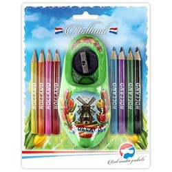 Color Pencils - Sharpener in Lime Green Wooden Shoe