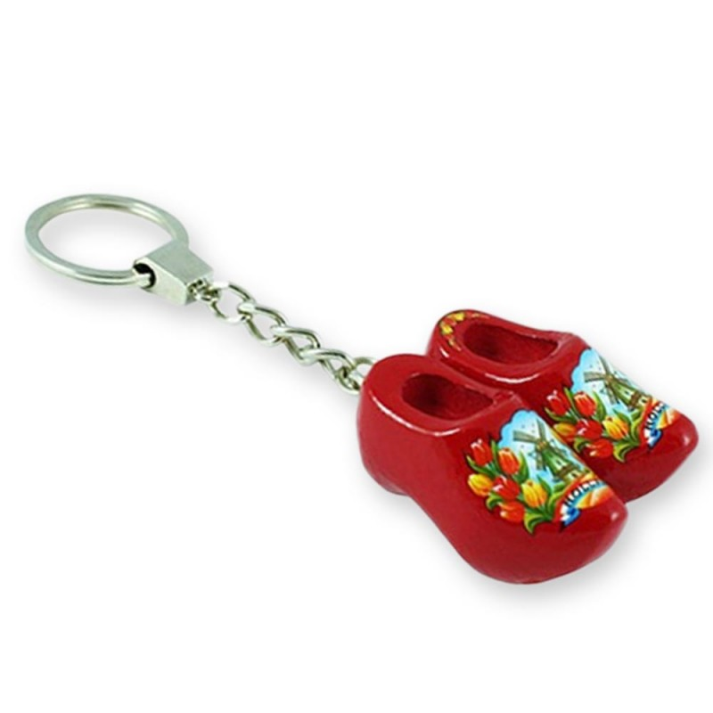 Red Tulp - Wooden Shoes - Keychain