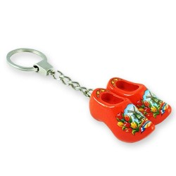 Orange Tulip - Wooden Shoes - Keychain