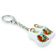 White Tulip - Wooden Shoes - Keychain