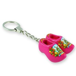 Pink Tulip - Wooden Shoes - Keychain