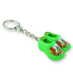 Green Tulip - Wooden Shoes - Keychain