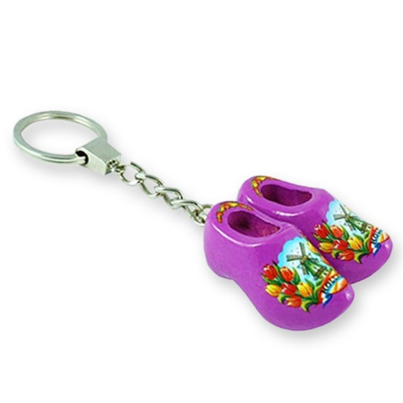 Purple Tulip - Wooden Shoes - Keychain