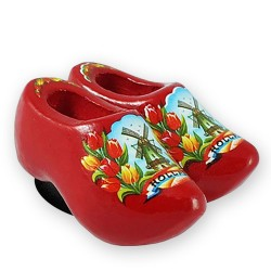 Red Tulips - Wooden Shoes - Magnet