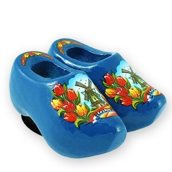 Blue Tulips - Wooden Shoes - Magnet