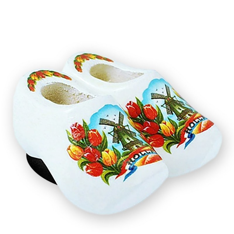 White Tulips - Wooden Shoes - Magnet