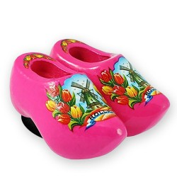 Pink Tulips - Wooden Shoes - Magnet