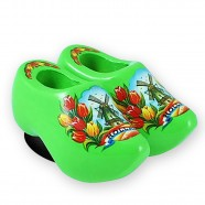 Green Tulips - Wooden Shoes - Magnet