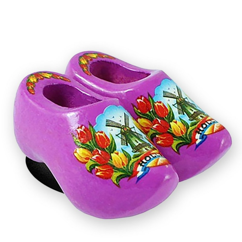 Purple Tulips - Wooden Shoes - Magnet