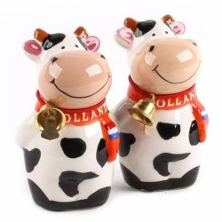 Salt and Pepper Cow with Bell Small - 8cm