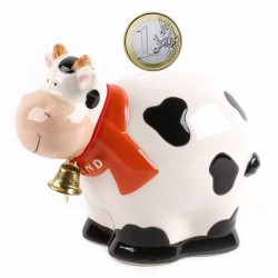 Moneybox Fat Cow with Bell - 10cm