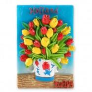 Tulpen in delfts blauw vaas magneet