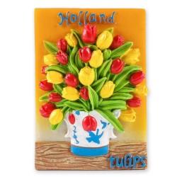 Tulips in Delft Blue vase - magnet
