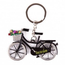 Bike Black with tulips Amsterdam - Keychain