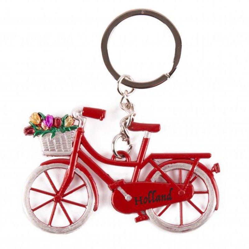 Bike Red with tulips Holland - Keychain