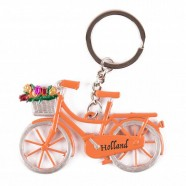 Bike Orange with tulips Holland - Keychain