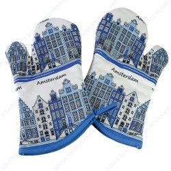 Oven Mitts - Delft Blue Canal Houses