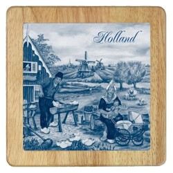 Cheese Plate - Wooden Shoe maker - Delft Blue