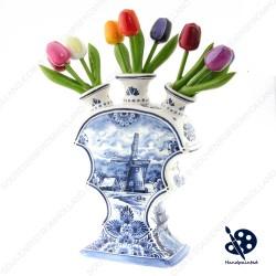 Platte Tulpenvaas Molen 23cm - Handgeschilderd Delfts Blauw
