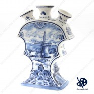 Tulipvase Flat Windmill 23cm - Handpainted Delftware