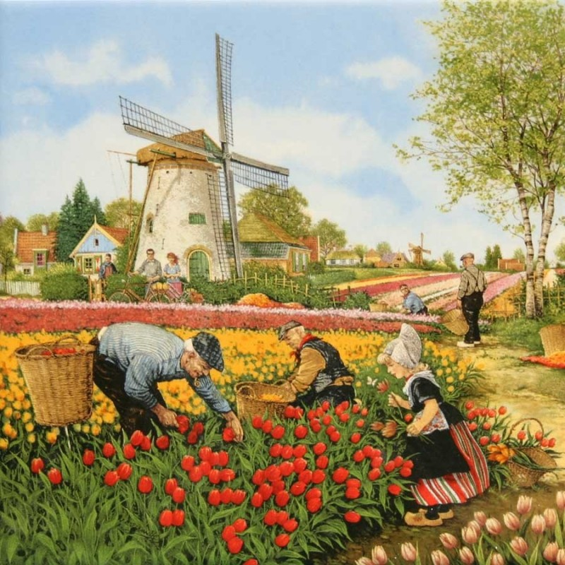 Tulpenplukkers - Tegel 15x15 cm - Kleur