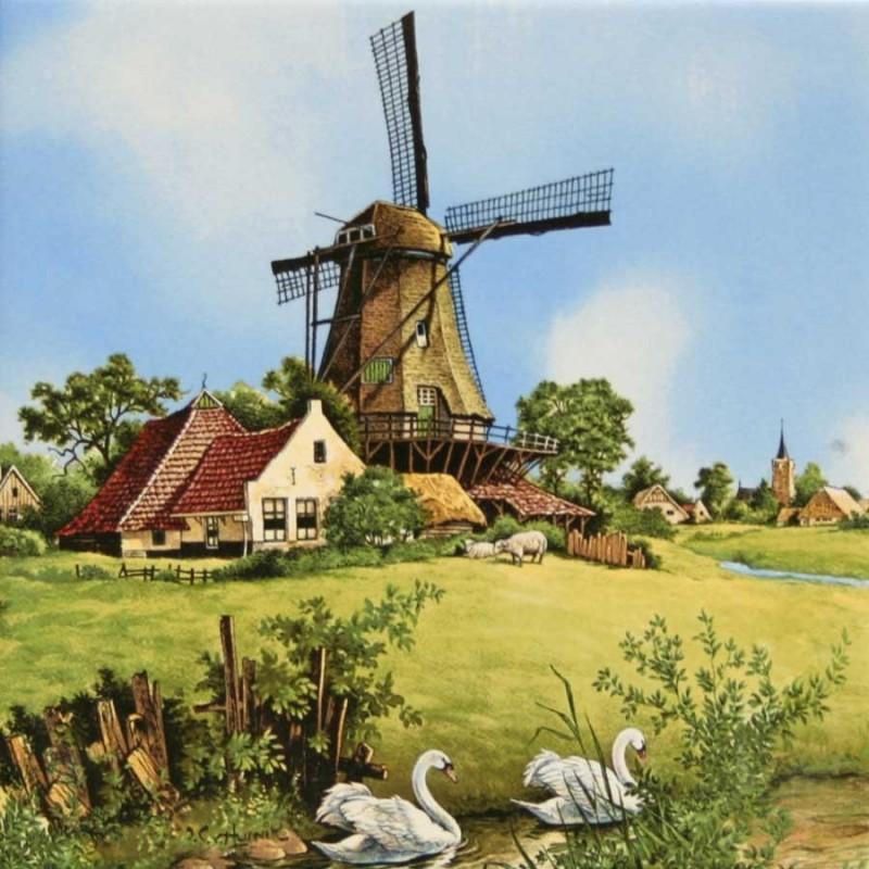 Windmolen Zwaan - Tegel 15x15cm - Kleur
