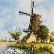 Gekleurd Keramiek Windmolen Wilg - Tegel 15x15 cm - Kleur