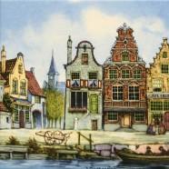 Gekleurd Keramiek Grachtenhuis Handkar - Tegel 15x15 cm - Kleur