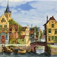 Gekleurd Keramiek Grachtenhuis Brug - Tegel 15x15 cm - Kleur